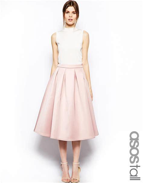 Jfashion Midi Dress Big Size Edition 1 asos premium prom midi skirt in bonded crepe in pink lyst