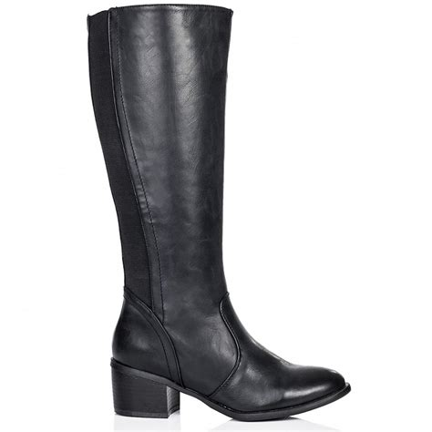 buy block heel knee high boots black leather