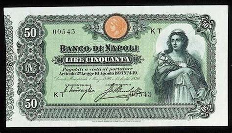 banco di napoli t banco di napoli 50 lire 15 july 1896 serial number k t