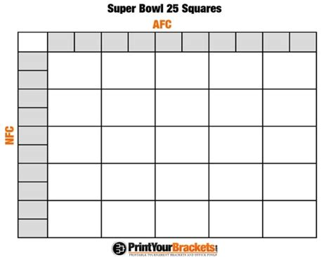 Super Bowl Squares Template Tryprodermagenix Org Squares Template