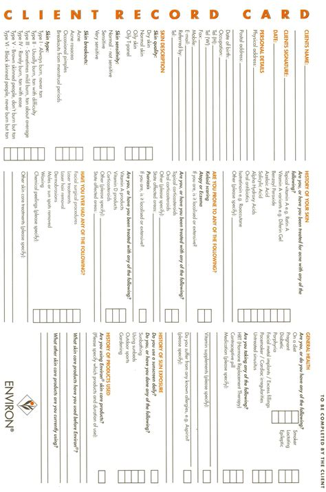 Eyelash Extensions Record Card Template by Client Record Card Pagehtm Projects To Try