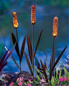 stake solar lights solar cattail light buy from gardener s supply