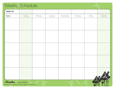 weekly schedule laminating templates