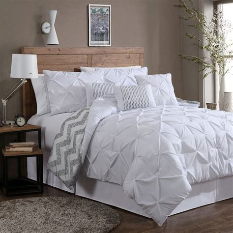 White Bed Set Reversible 7 Comforter Set King Size Bed Bedding Pinch Pleat White Pillows Ebay
