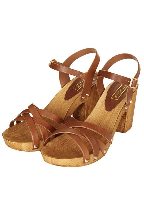 wooden sandals lyst topshop nancy chunky wooden sandals in brown