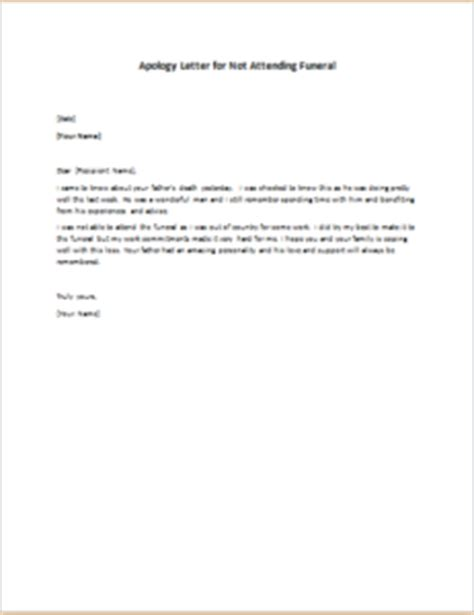 Explanation Letter For Not Attending Meeting Apology Letter For Not Attending Funeral Writeletter2