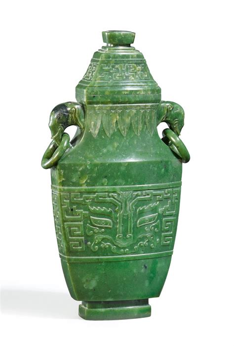 jade vase a large spinach green jade vase and cover qianlong period auktionshaus lempertz