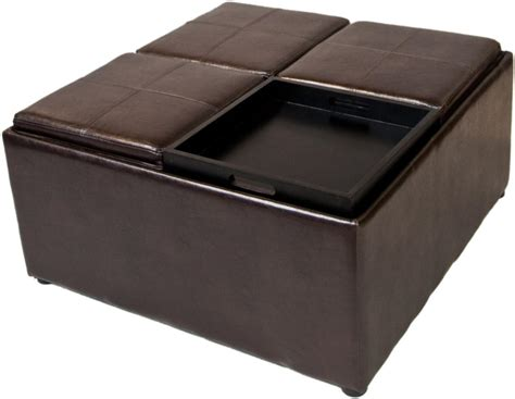 storage ottoman coffee table simpli home avalon coffee table storage ottoman w 4 serving trays pu leather brown