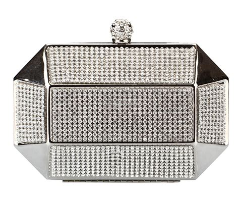 Wedding Box Clutch by Silver Rhinestone Stud Octagon Box Clutch