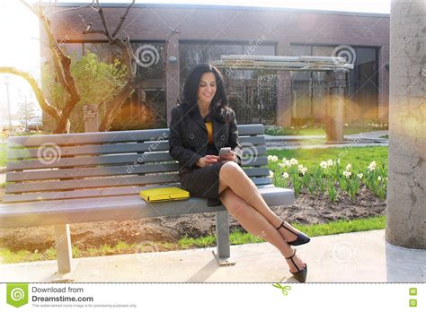 her bench business woman outside stock photo image 72778049