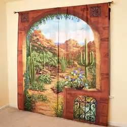 Southwest Kitchen Curtains Outdoor Scenic View Curtains Desert Garden Southwestern Design