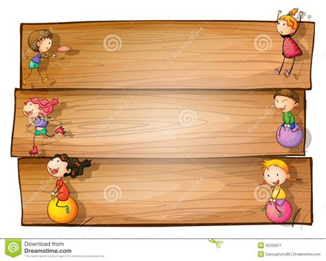 a wooden signage with kids playing stock vector image