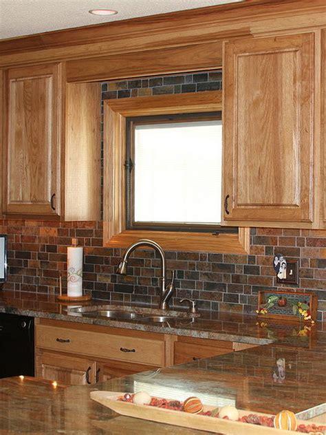 brown slate mosaic backsplash tile for traditional