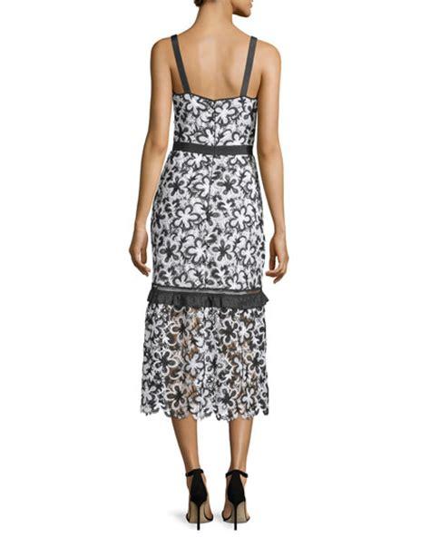 Lace Sleeveless Midi Dress self portrait sleeveless floral lace midi dress black white