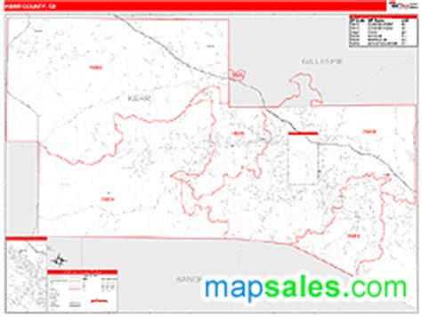 map of kerr county texas kerr county tx zip code wall map line style by marketmaps