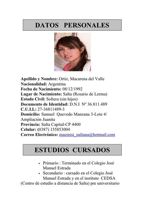 Herunterladen Curriculum Vitae Ingles Pdf Con Foto Naichardio