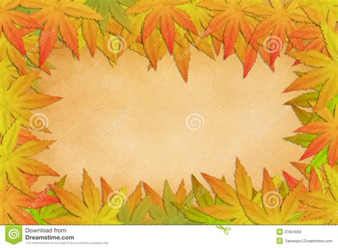 autumn leaves on grunge paper background stock