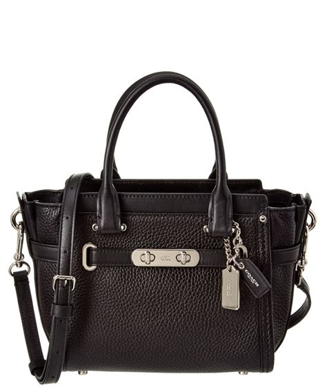 Coach Swagger 21 Platinum 1 coach swagger 21 leather satchel black silver modesens