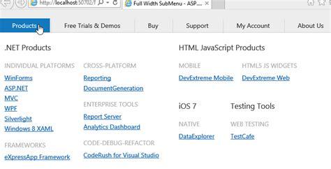 design menu control in asp net asp net create full width submenu like devexpress com
