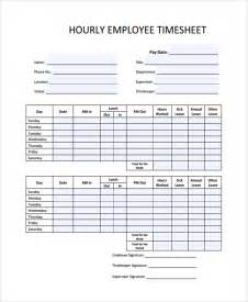 Hourly Timesheet Template by Sle Time Sheet Template 21 Free Documents