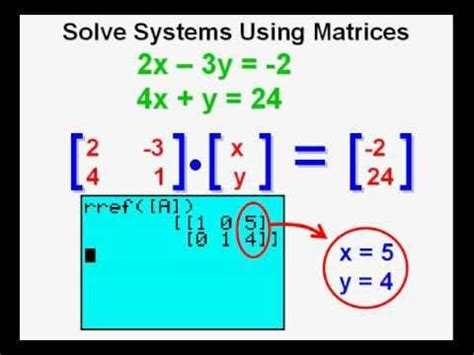 using matrices to solve systems of equations on the