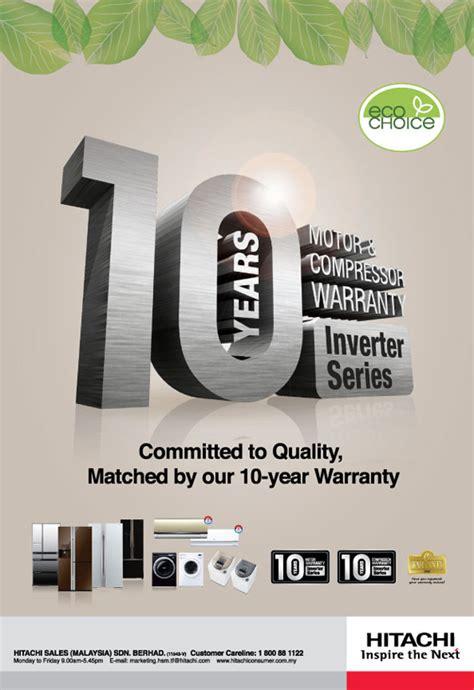 years motor  compressor warranty  inverter series malaysia hitachi home appliances