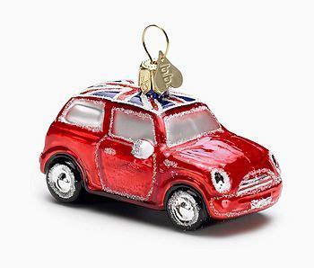 red mini cooper christmas ornament glass car uk flag by bombki notonthehighstreet