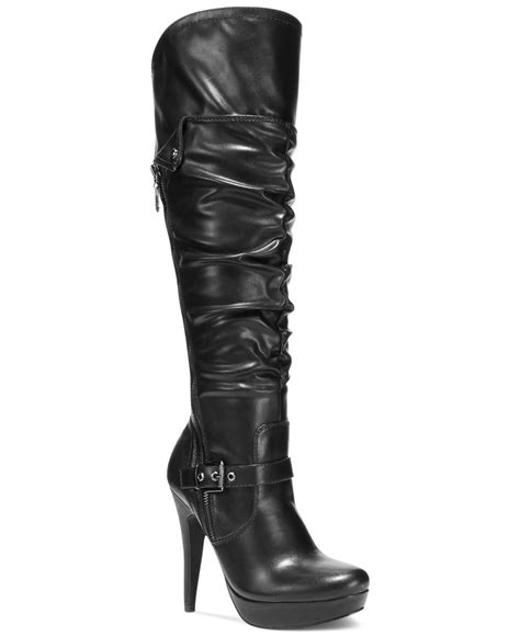 wide dress boots for g by guess s drea platform wide calf dress boots in