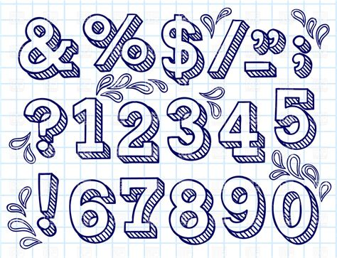 collection of hand drawn numbers on checkered paper vector