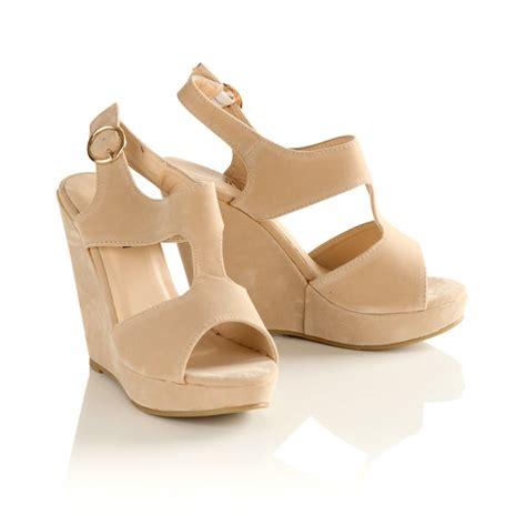 womens beige suede wedge sandals