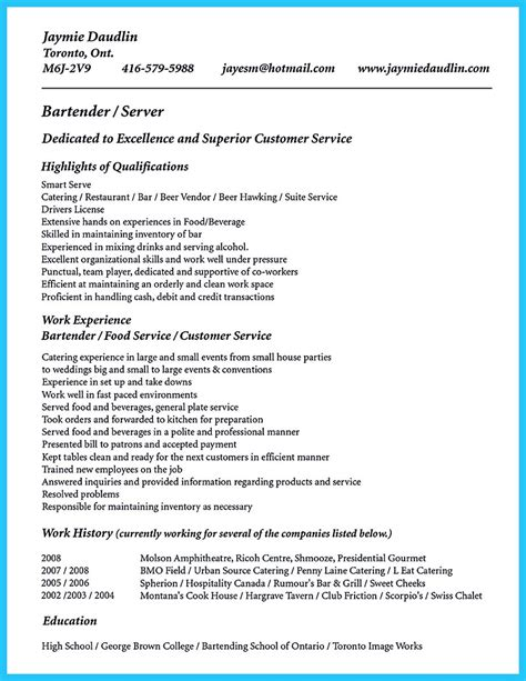 outstanding details you must put in your awesome bartending resume outstanding details you must put in your awesome