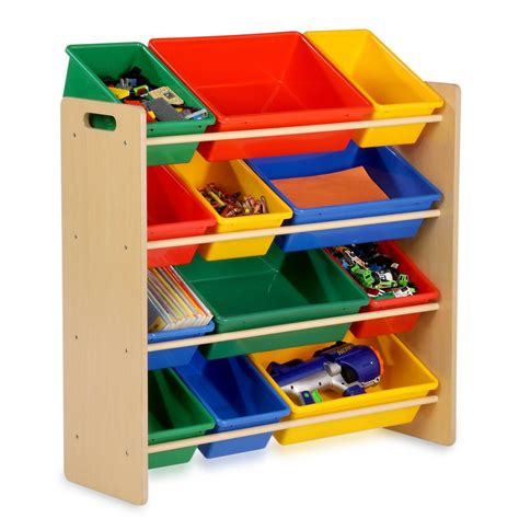 toy storage bookcase with tubs childrens kids bedroom storage shelf rack unit plastic
