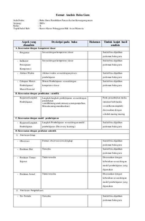 format buku pembinaan guru dan tas analisis buku guru siswa pkn x