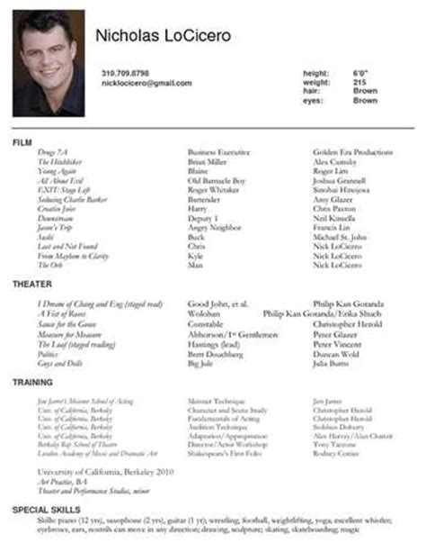 Actors Resume Sles by Here Is Link For This Tv Actor Resume