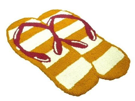 Flip Flop Bath Rug Flip Flop Bath Rug Sun And Sand Flip Flop Yellow Themed Cotton Bath Mat Bathroom Rug Accent