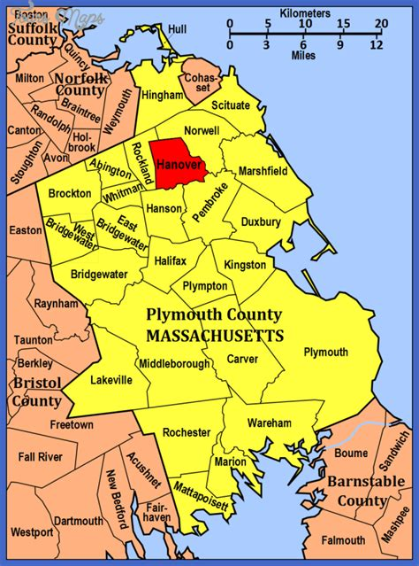 map of plymouth area map of hanover toursmaps