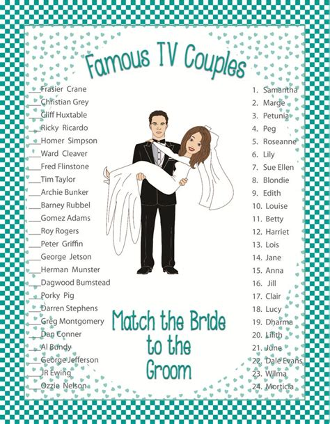 couples bridal shower printable bridal shower quot tv couples quot bridal shower tv couples bridal