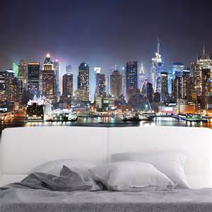 Wall Murals Cityscapes New York City Skyscrapers At Night Skyline Wall Mural