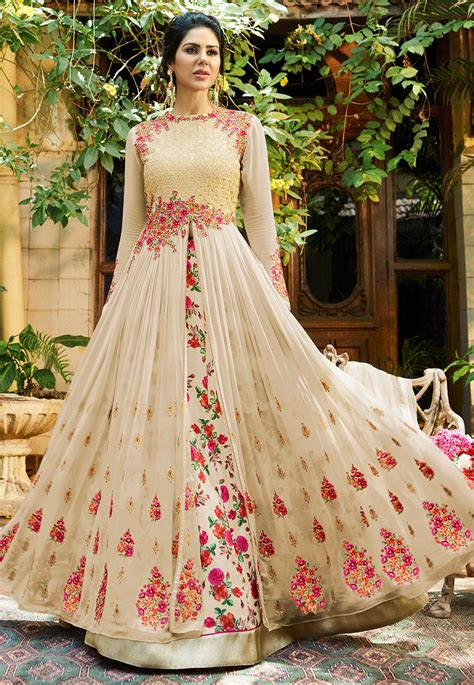 Wedding Dress Shopping Green Bags The Ultimate Diet by Embroidered Georgette Jacket Style Lehenga In Light Beige