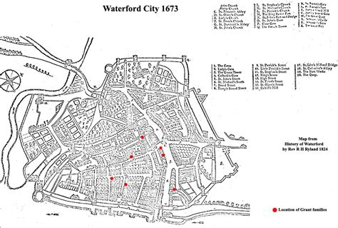 map of waterford city the grants in waterford city from 1500 to 1690