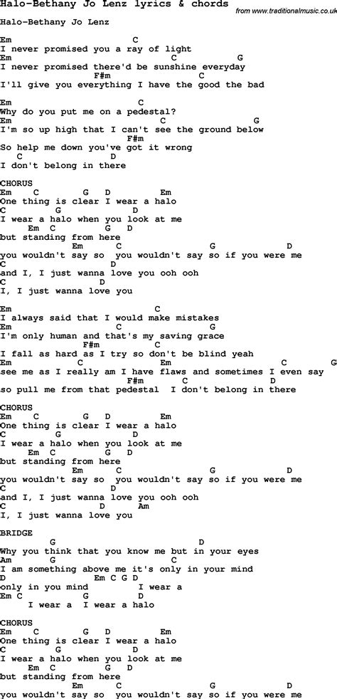 printable halo lyrics love song lyrics for halo bethany jo lenz with chords