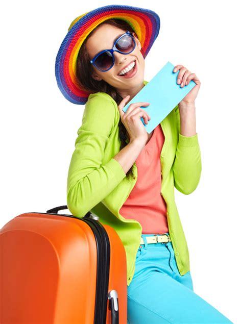 pretty teen girl  straw hat standing  travel bag  stock  designshop