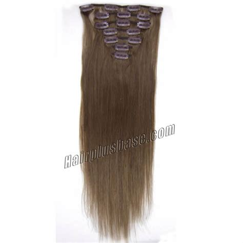 8 inch human hair extensions 26 inch 8 ash brown clip in remy human hair extensions 7pcs