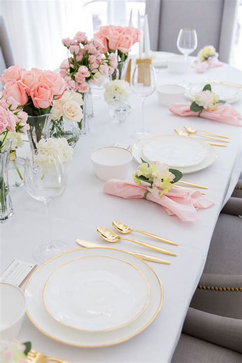 bridal shower table setup pink bridal shower tablescape fashionable hostess