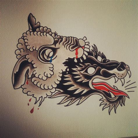american traditional wolf tattoos traditional school wolf and sheep heads design