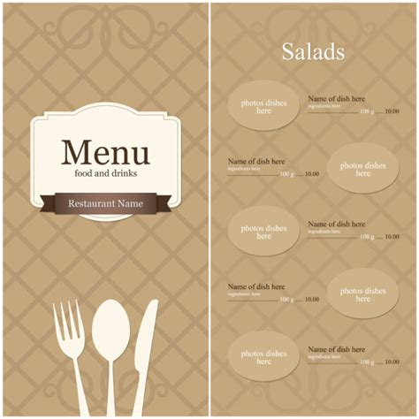 menu design eps file continental menu template 10 vector material download