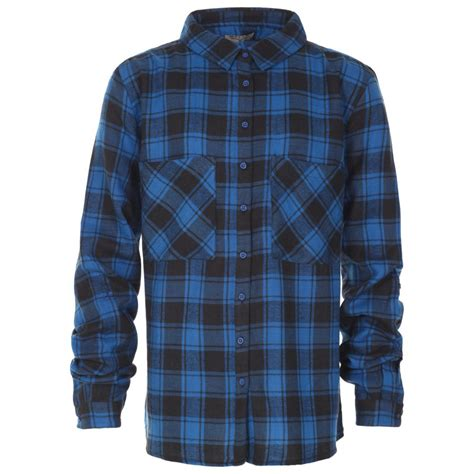 Checked Shirt blue inc womens blue black sleeve check shirt
