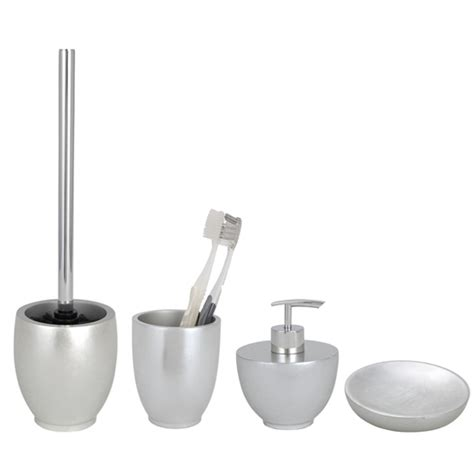 silver bathroom accessories sets wenko silver bathroom accessories set at plumbing uk