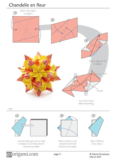Modular Origami Diagrams - chandelle kusudama by sinayskaya diagram