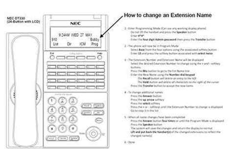 nec dterm 80 reset voicemail password solved how do i change the extension name on the display